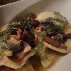 Pork and Mushroom Agnolotti with Parmesan Panna Cotta… recipe and wine pairings