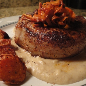 Seared pork, spiced apple puree, roasted potatoes and carrots two ways… recipe and pairings, requested by Janet