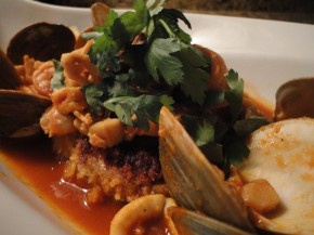 Risotto crab cake with a spicy seafood broth… recipe and pairings