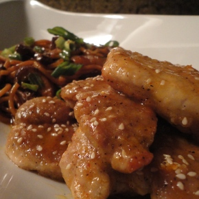 Citrus, honey & sriracha glazed pork with Asian noodles… recipe and pairings.