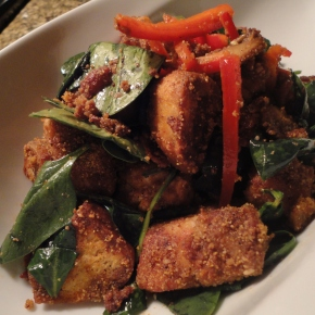 Panzanella salad with cornmeal dusted pork & bacon… recipe and pairings.