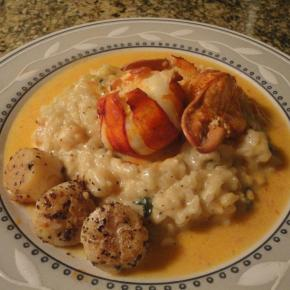 Shrimp Risotto, poached lobster & seared scallops with a tomato butter sauce… Requested by Danielle P!