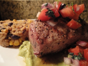 Grilled pork tenderloin, avocado puree, tequila salsa and dirty rice… recipe and pairings