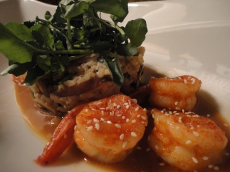 Sriracha & honey glazed shrimp, miso broth, shiitake & scallion rice. (recipe available)