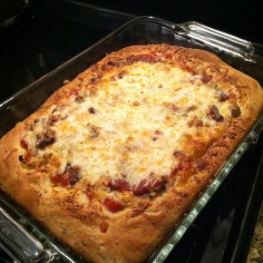 Three cheese deep dish pizza with steak and onions… recipe and pairings