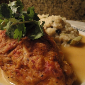 Hummus Crusted Lemon Chicken