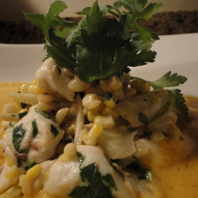 Butternut Squash Bisque with Crab, Corn & Fennel Salad… recipe and wine pairings