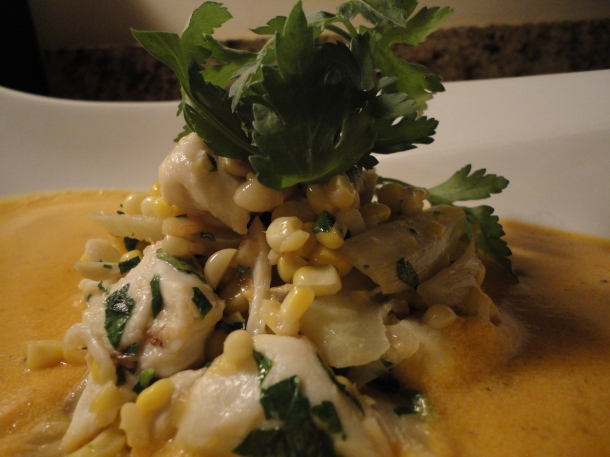 Butternut Squash Bisque with Crab & Corn Salad