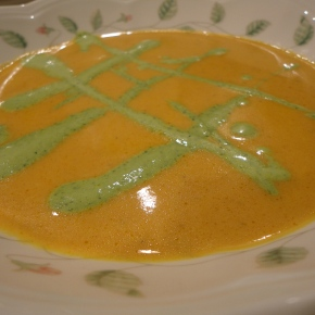 Carrot Ginger Bisque with basil honey creme… recipe and wine pairings
