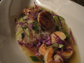 Asian Noodle Soup with Shrimp & Seared Scallops… recipe and pairings