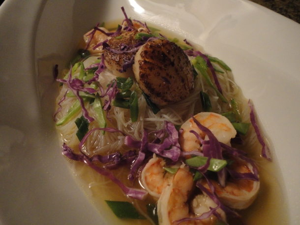 Asian Noodle Soup with Shrimp & Seared Scallops