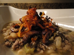 Turkey, White Bean & Kale Soup with Roasted Mushrooms & Carrots… recipe and wine pairings